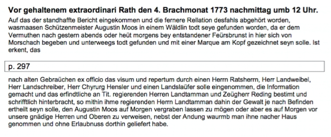 Augustin Feuersbrunst Ratsprotokoll Transkription