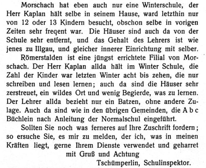 Schulberichte 1800 an Min. Stapfer aus 1909 Mitteilungen hist. Verein