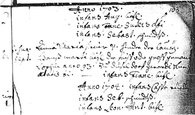 Sterbebuch Morschach 1703