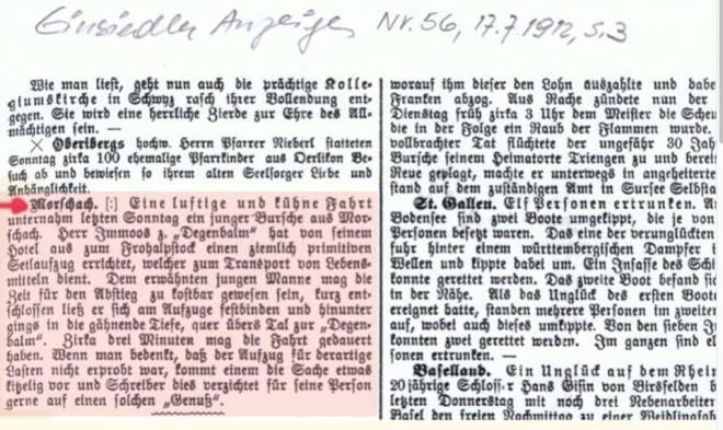 Zeitung Seilbahn