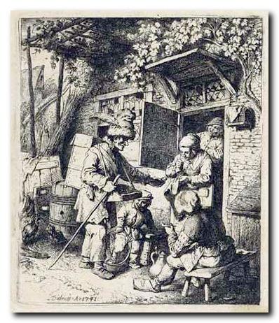 Als die Hausierer zur Zeit unserer Ahnen noch von Hof zu Hof zogen.    /   When the peddler at the time of our ancestors even moved from farm tofarm.