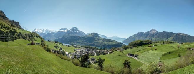 Dorf Morschach und Panorama-Ernst Immoos